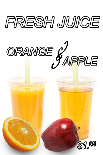 fresh juice apple or orange