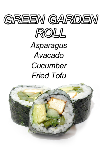 Green Garden Roll - Asparagus Avacado Cucumber Fried Tofu